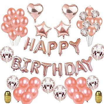 Herefun Decoración Cumpleaños, Fiesta Globos Decoración Oro rosa Niñas Inflable HAPPY BIRTHDAY Banner Metálicas de Corazón de la Estrella Confeti ...