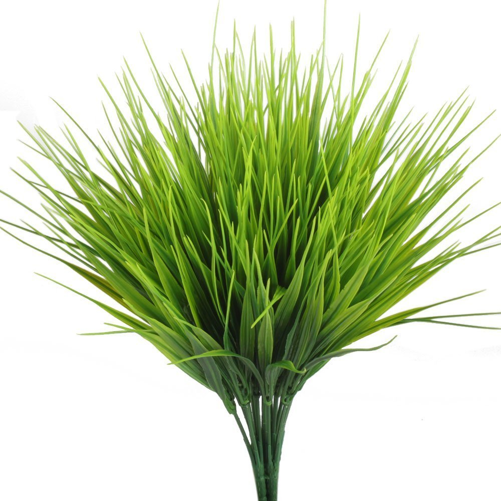 TOOGOO Artificial Outdoor Plants, 4pcs Fake Plastic Greenery Shrubs Wheat Grass Bushes Flowers Filler Indoor Outside Home House Garden Office Decor