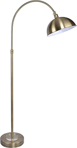 63.5″ Antique Soft Brass Metal Arc Floor Lamp w/Clear Crystal Finish Adjustable Shade