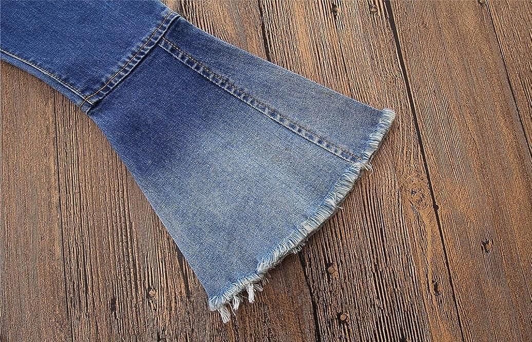 2018 Infant Kids Baby Fashion Vintage Jeans Splice Bell-Bottoms Denim Children Pants Gifts SHOBDW Girls Trousers