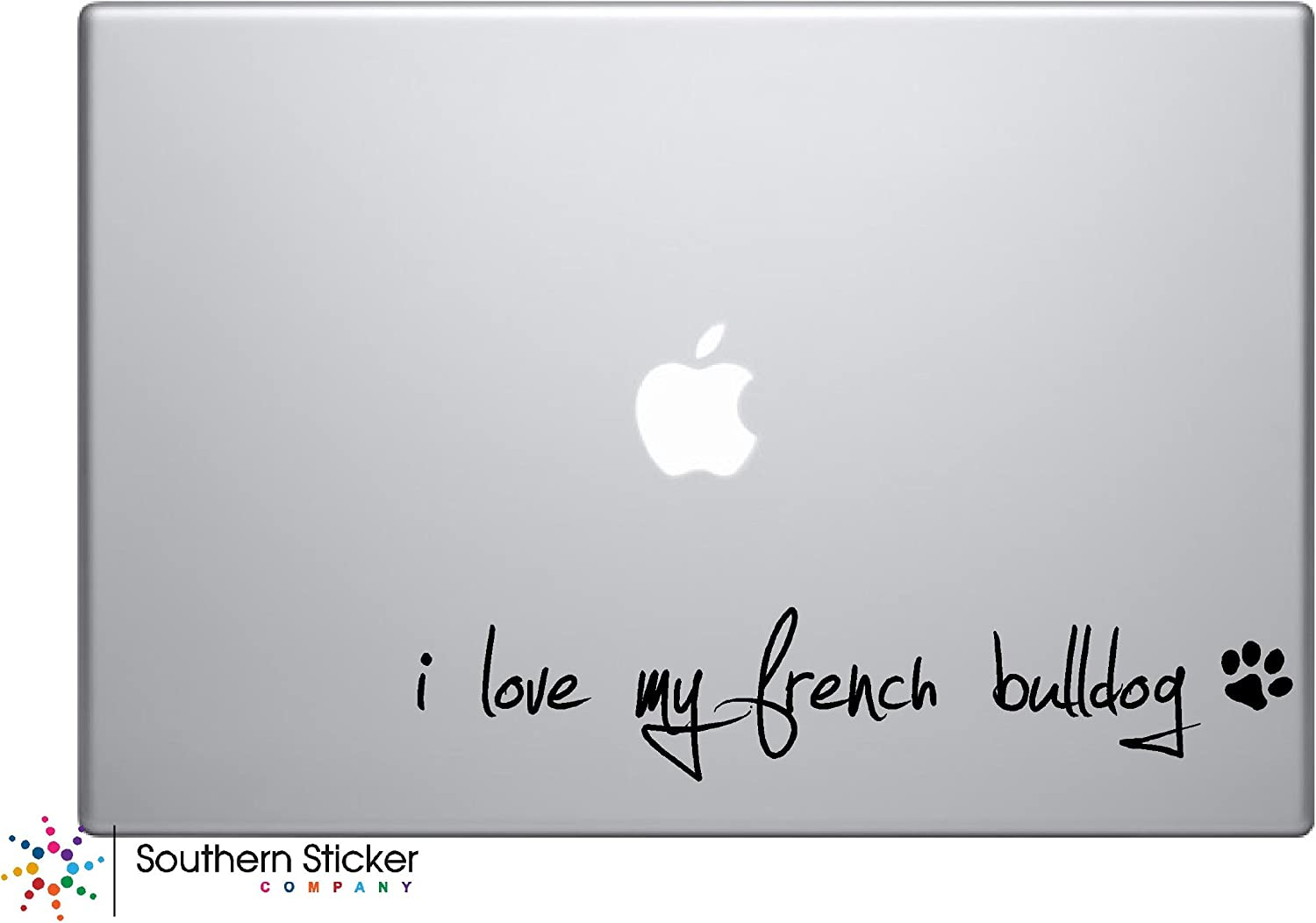 I Love My French Bulldog Dog Puppy Vinyl Car Sticker Symbol Silhouette Keypad Track Pad Decal Laptop Skin Ipad Macbook Window Truck Motorcycle