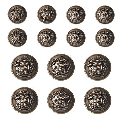 YaHoGa 14 Piezas Bronce Botones Metalicos 20mm 15mm Botones para Trajes Chaquetas Abrigos Uniforme