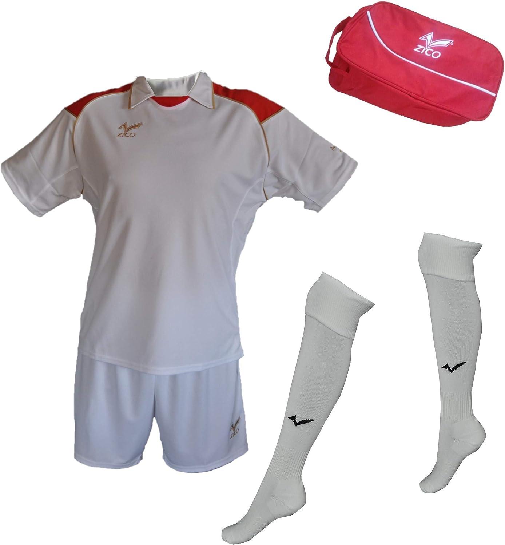 ZICO ESPAÑA Conjunto equipación Fútbol Hombre Blanco, Camiseta-pantalón+Medias, (L): Amazon.es: Deportes y aire libre