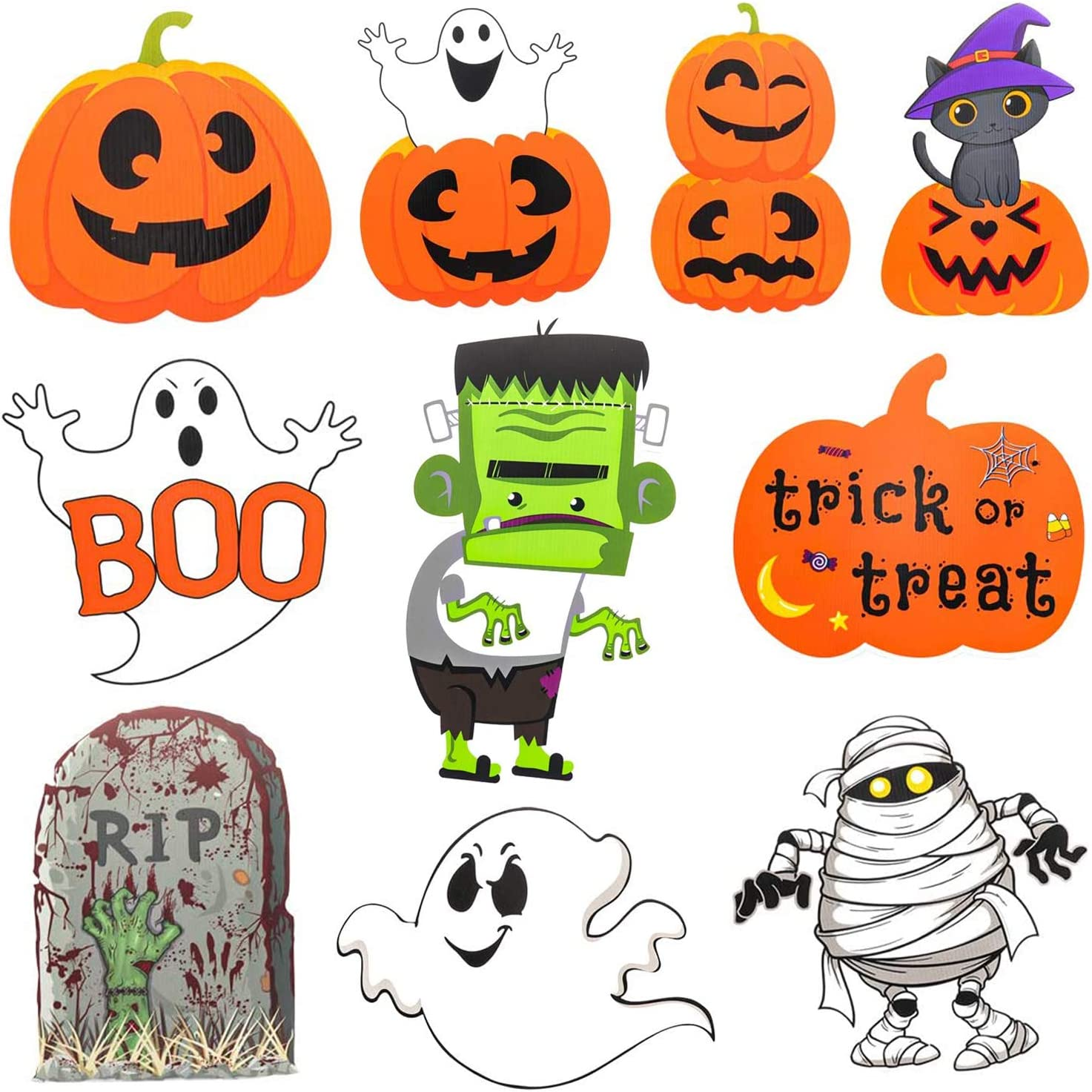 Halloween Yard Signs with Stakes Decorations 10 Pcs Halloween Decorations Outdoor Pumpkin Skeleton and Ghost Corrugate Trick or Treat Yard Signs for Halloween Yard Lawn Party Decorations