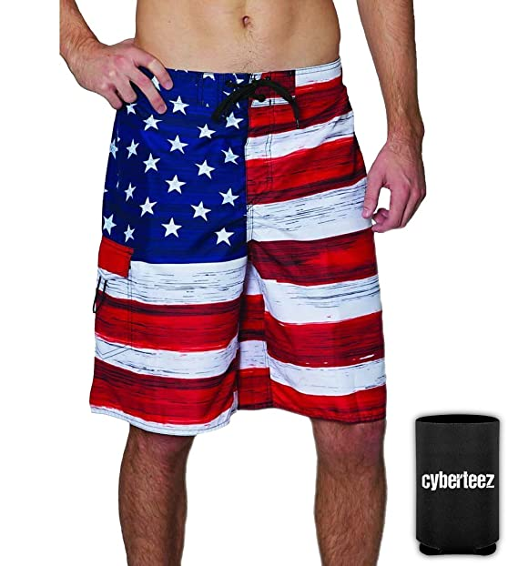 9306536841 USA American Flag Old Glory Men's RWB Patriotic Board Shorts Swim Trunks +  Coolie (S