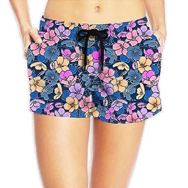 21b686bc41 Bottoon Women's Beach Short Elastic Waist Hot PantsPastel Floral ...