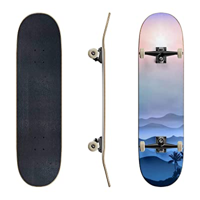 EFTOWEL Skateboards Background with Palm Tree and Mountains in The Fog Rainforest Stock Classic Concave Skateboard Cool Stuff Teen Gifts Longboard Extreme Sports for Beginners and Professionals : Sports & Outdoors