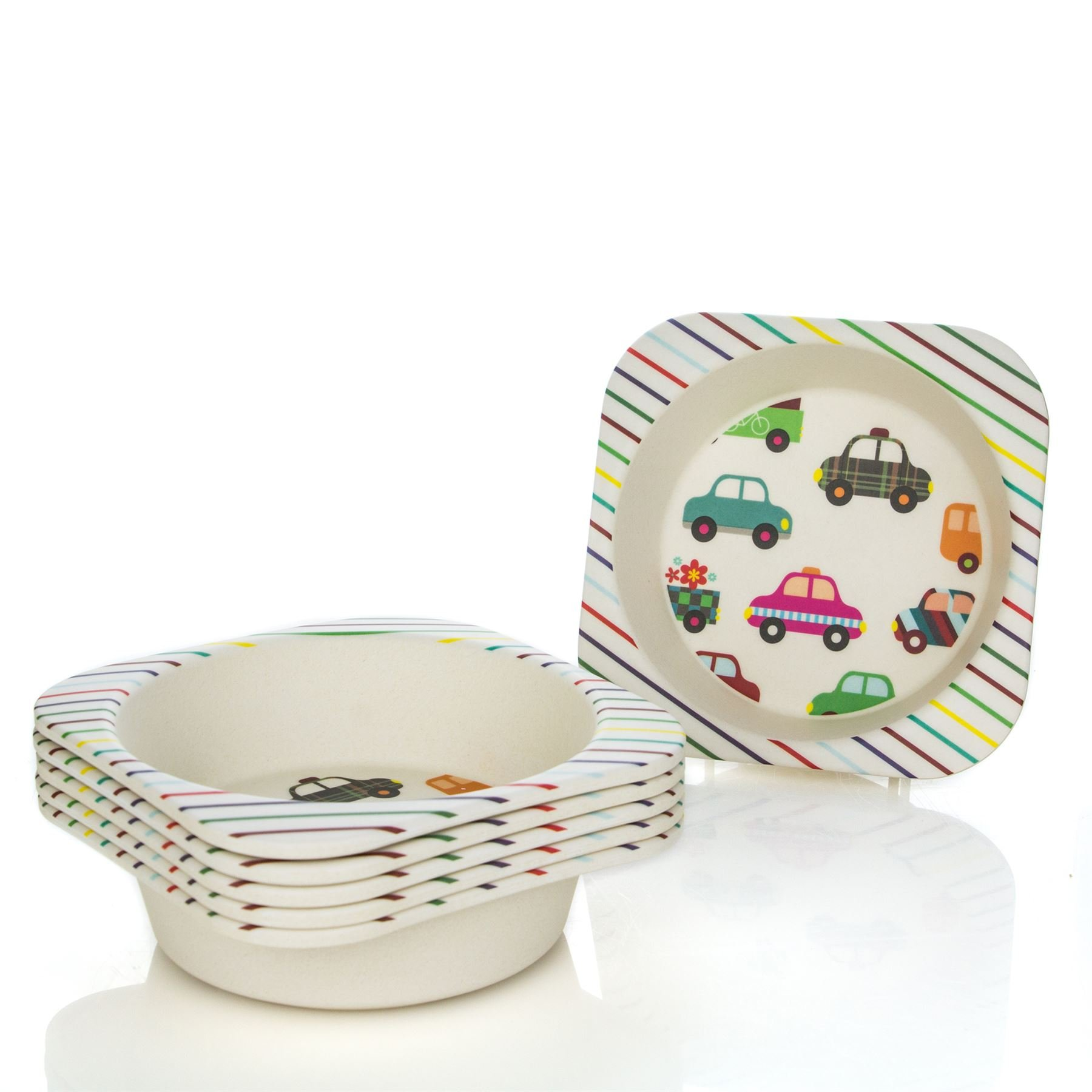 Tiny Dining Children's Bamboo Fibre Dining Bowl - Cars - Pack of 6
