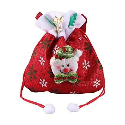 tinksky christmas candy bags reusable fabric cute snowman drawstring gift treat bag goodie bag pocket sweet - Candy Christmas Ornaments