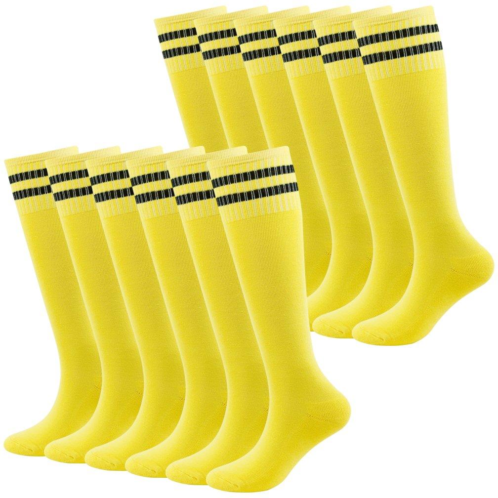 Fasoar Teens Baseball Socks Athletic Gym Fit Running Knee Striped Football Soccer Socks 12 Pairs Yellow by Fasoar