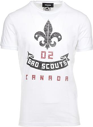 DSquared - Camiseta - para Hombre Blanco Blanco Talla De La Marca Large: Amazon.es: Ropa y accesorios