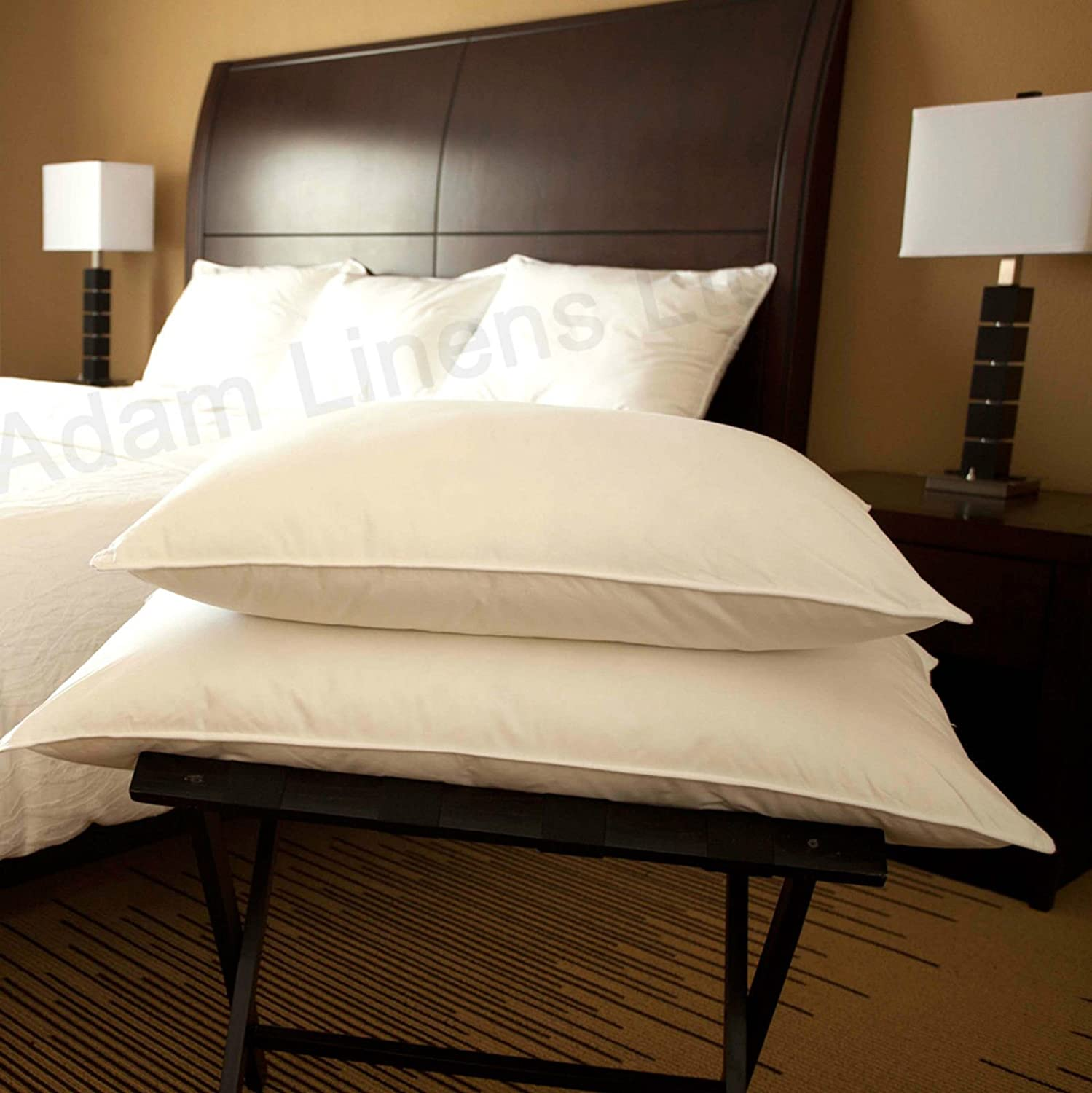 Adam Linens 2x Luxury Duck Feather and Down Pillow, Comfortable Extra Filling Hotel Quality Pair of Pillow - Pack Of 2 Adam Home