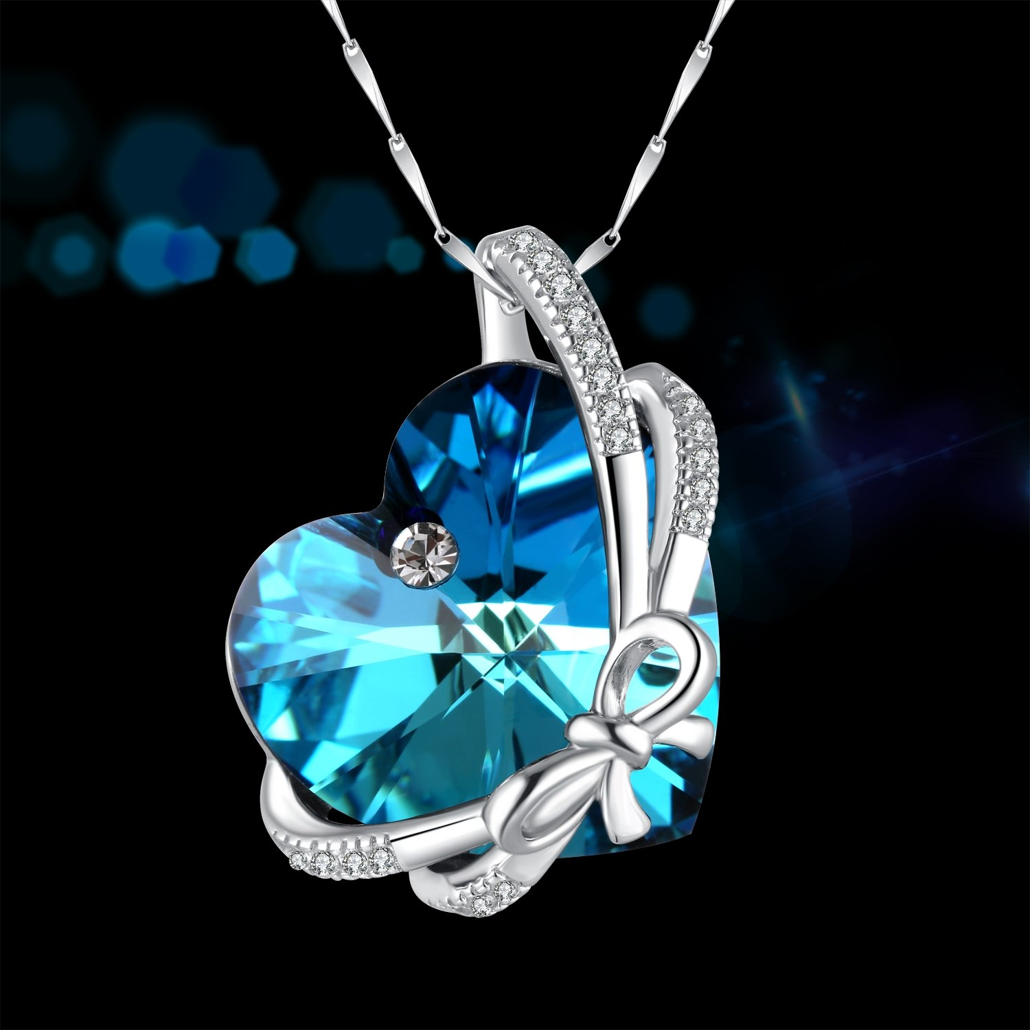 020501f875214 SUE'S SECRET Heart Shaped Birthstone Necklace 925 Sterling Silver Bowknot  Necklace with Swarovski Heart Shape Crystals, Sterling Silver Bowtie Heart  ...