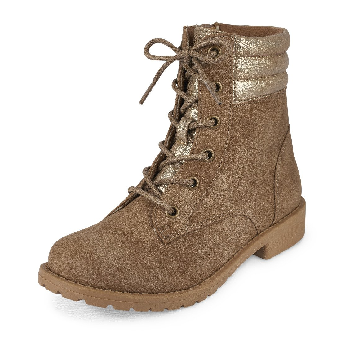 The Children's Place Girls' Combat Fashion Boot, Tan-Boot-6, Youth 3 M US Little Kid