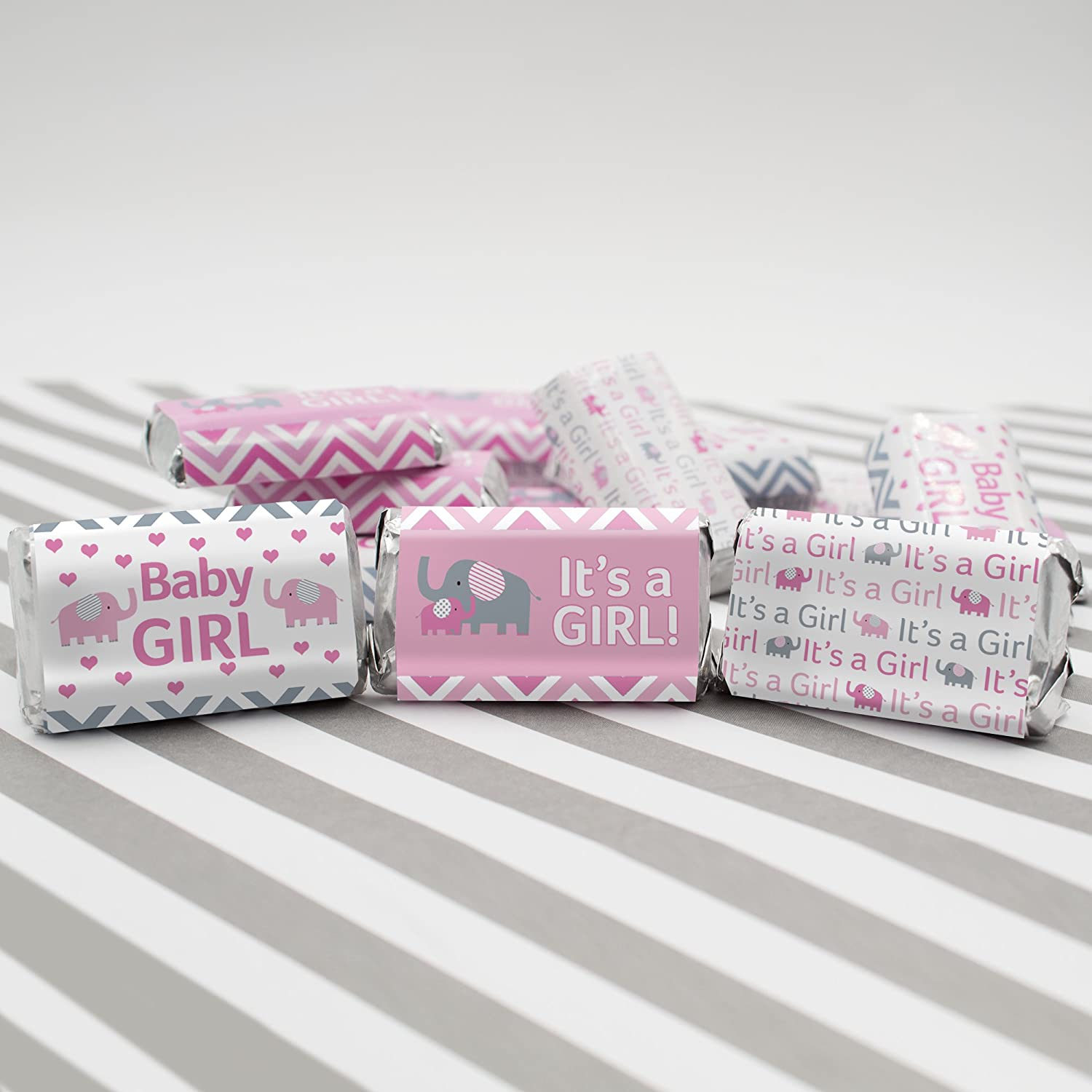 Amazon.com: Pink and Gray Elephant Baby Girl Shower Miniatures Candy ...