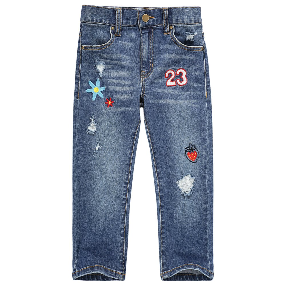 UNACOO Girls Jeans with Stretch Straight Leg and 5 Pockets (Cartoon, s(6-7T))