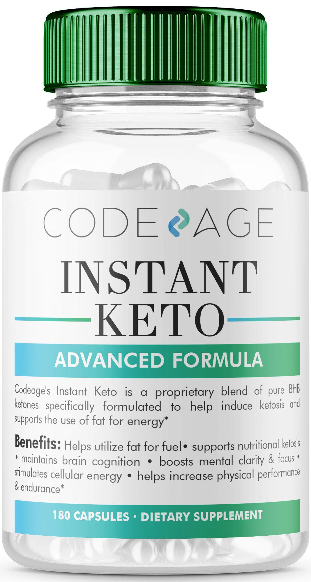 Codeage Instant Keto BHB Weight Loss Supplement Pills for Women and Men, BHB Salts as Exogenous Ketones, 180 Capsules, 90 Day Supply by Codeage