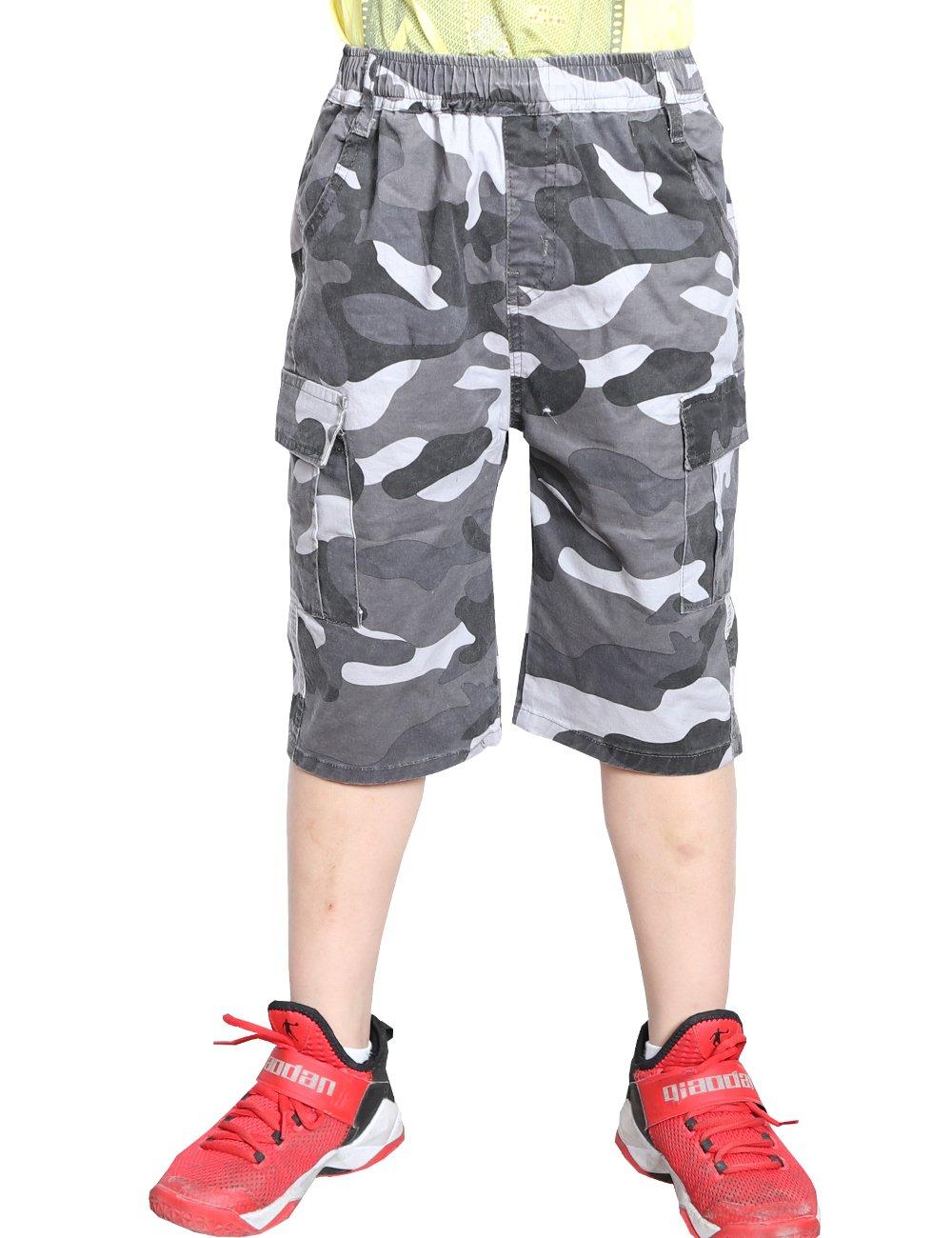 WIYOSHY Boys Camo Elastic Waist Pull On Jogger Chino Shorts for Kids 5-16 Years (Gray, 170 (Size 16))