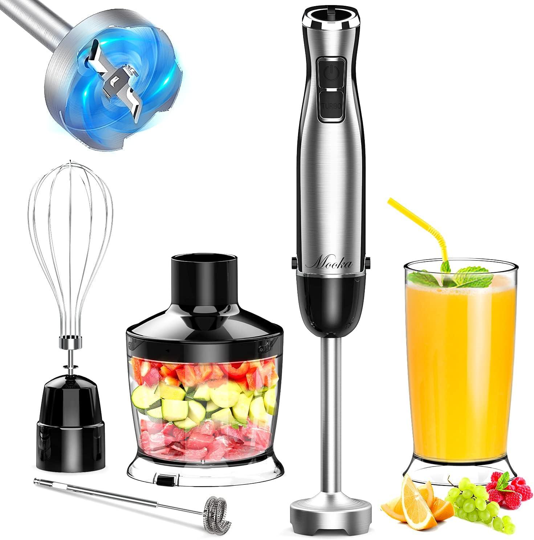 MOOKA Immersion Blender, 1100W 5-in-1 Multi-Purpose Hand Blender, 12-Speed Handheld Stick Blender, 600ml Beaker, 500ml Chopper, Egg Whisk, Milk Frother, Black