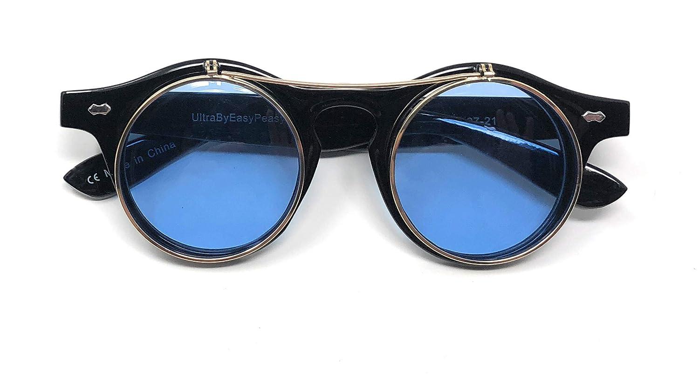f13734bf648 Ultra Black Frame Aqua Blue Lenses Flip Up Circle Premium Quality Steampunk  Glasses Retro Women Men Round Rave Gothic Vintage Rustic Rivet Victorian  Punk ...