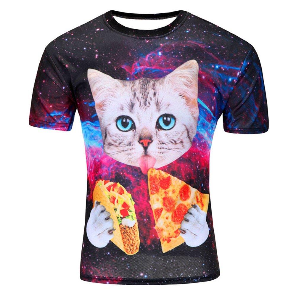 Sevem-D Summer Animal Creative T-Shirt Lightning/Smoke Lion/Lizard 3D Printed T Shirt