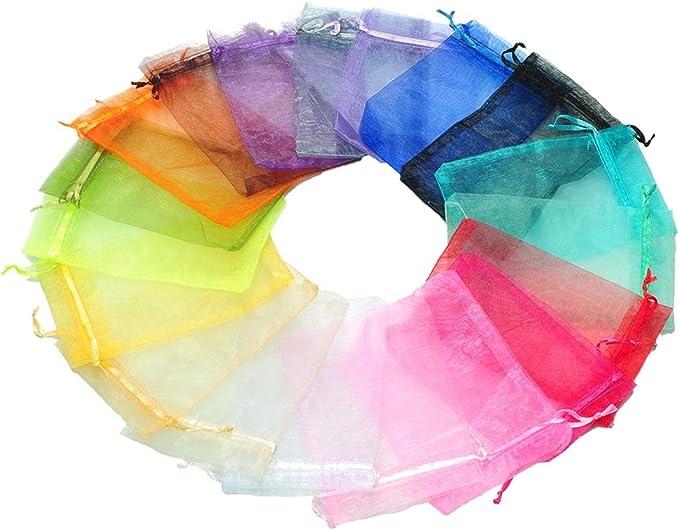 Cadeaux HOUSWEETY 100 pcs Sachets Pochettes Cadeau en Organza 10x15cm pour Mariage Bijoux Mixte