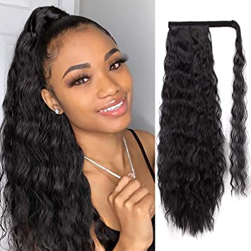 Aisi Queens Long Ponytail Extensions For Black Women Synthetic 22 Inch Curly Wrap Around Black Ponytail Corn Wave Ponytail Hairpiece Magic Paste Black