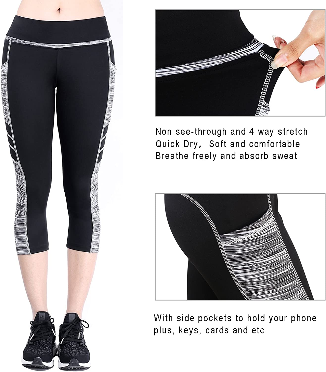 Zinmore Womens Capri Yoga Pants Exercise Running Workout Leggings with Pockets