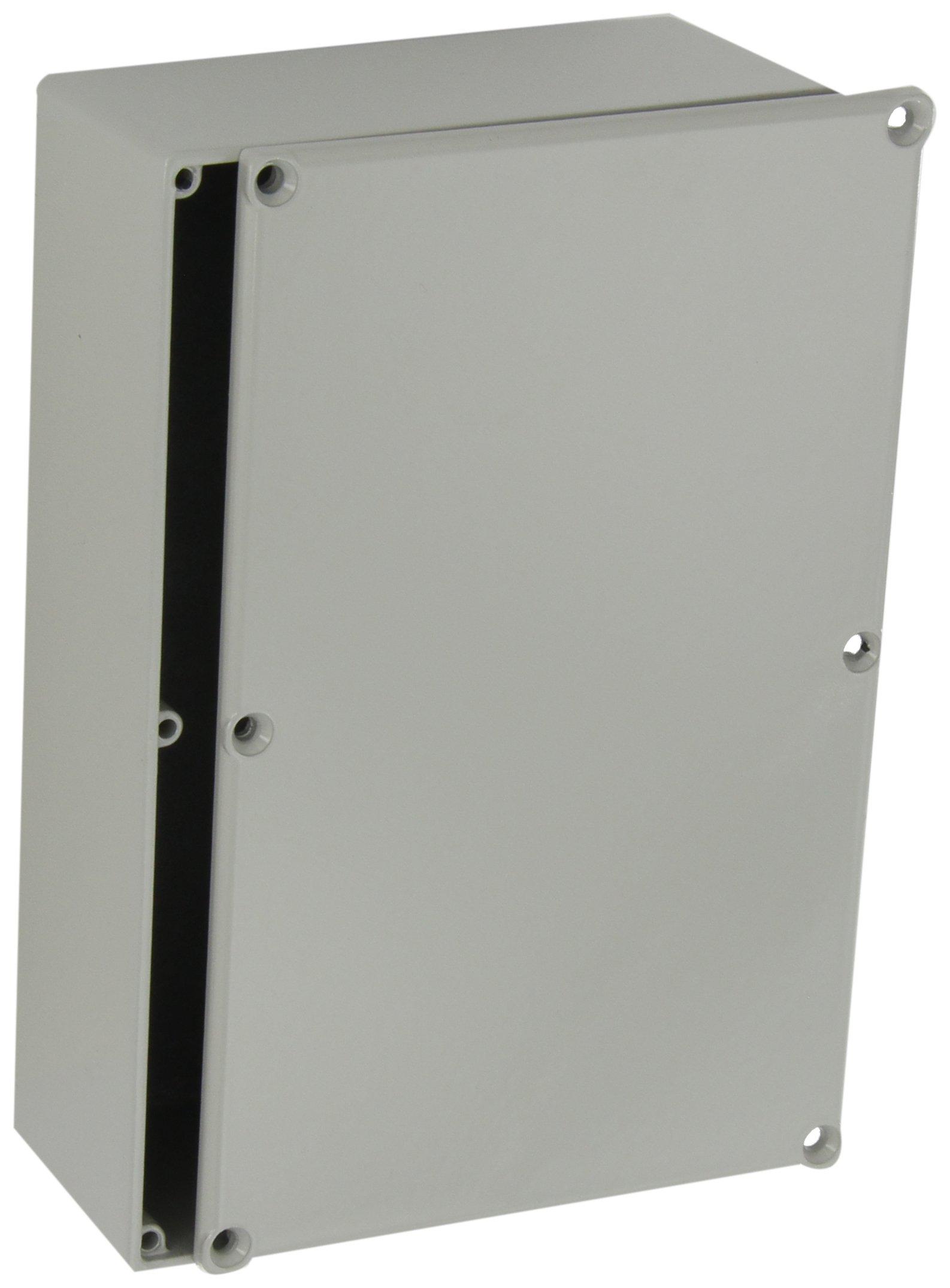 BUD Industries CU-247-G Aluminum Econobox, 7-3/8'' Length x 4-11/16'' Width x 2-13/64'' Height, Gray Painted Finish
