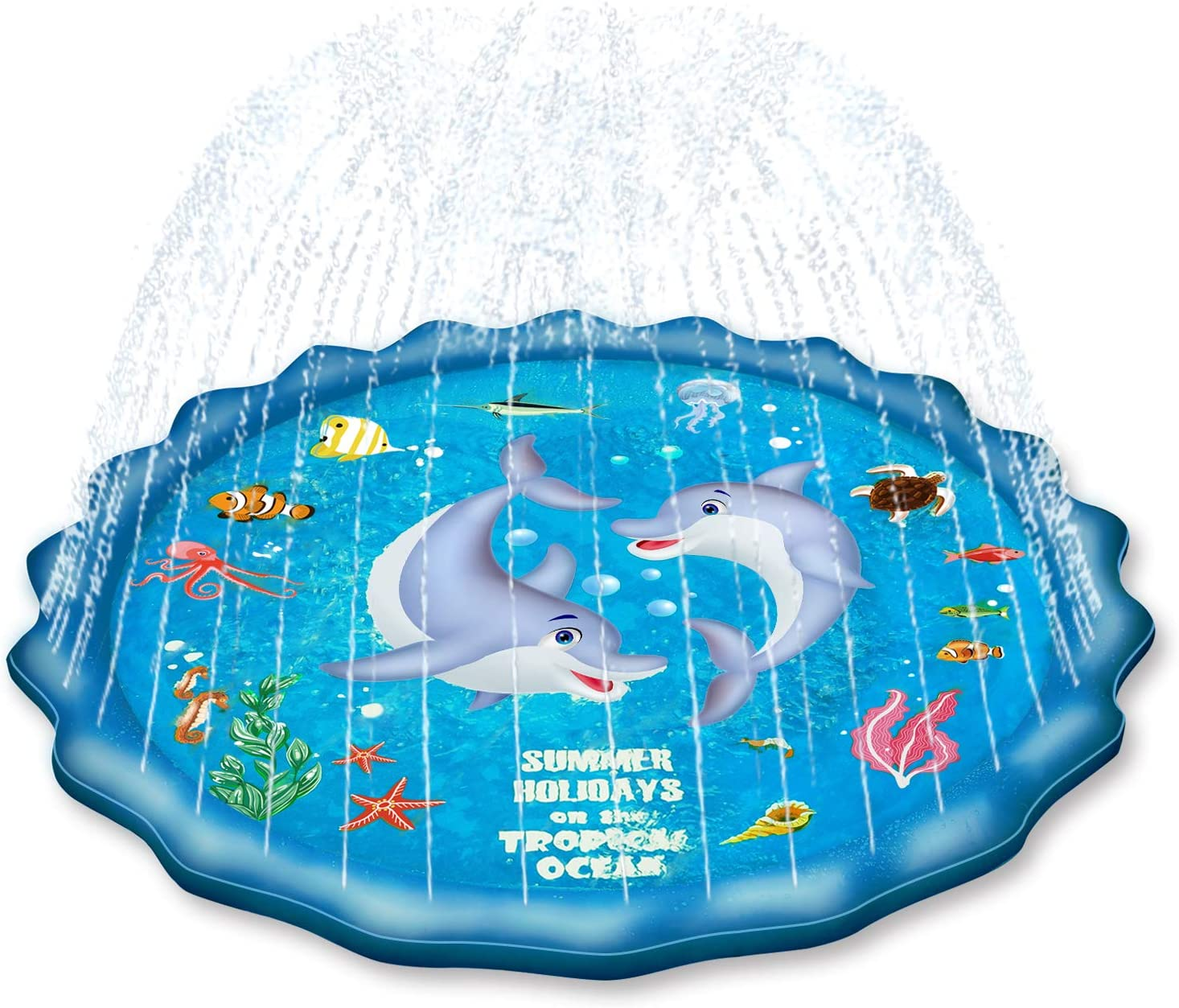 """EPN Sprinkle Pad for Kids Splash Play Mat for Toddlers Baby, Upgraded 67"""" Summer Outdoor Water Toys Wading Pool Outside Water Play Mat for 1-12 Years Old Children Boys Girls"""