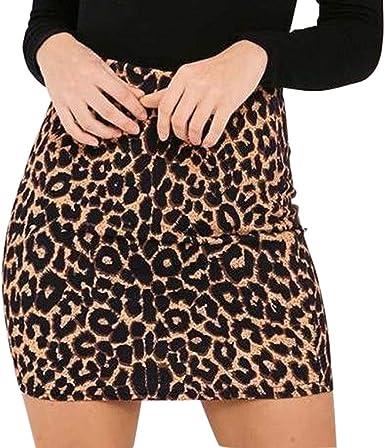 TUDUZ Falda Estampada De Leopardo para Mujer Minifalda LáPiz ...