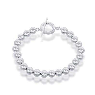 083581db2 Amazon.com: Sterling Silver 8mm Beaded Toggle Bracelet: Link Bracelets:  Jewelry