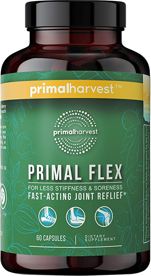 Primal Harvest: Primal Flex - Fast-Acting Joint Pain Relief Formula with Collagen, Vitamin C, Turmeric, Boswellia Serrata, and Ashwagandha - 30-Day Supply - Keto - No Gluten - Made in The USA