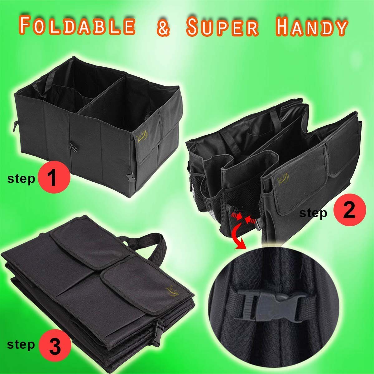 Zento Deals Black Multipurpose Foldable Vehicle Organizer OR7