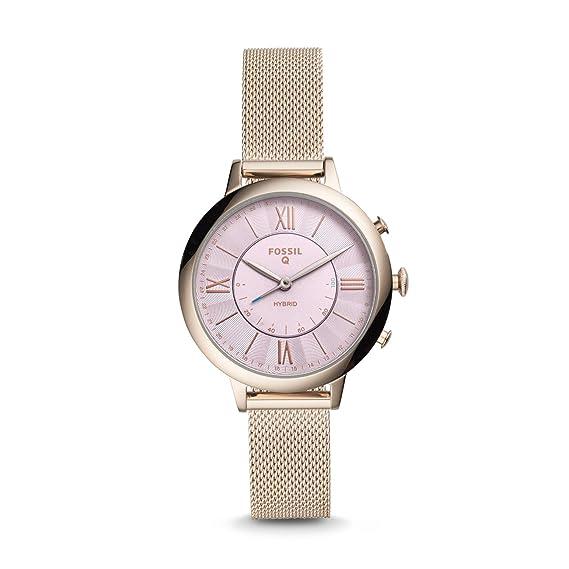 Risultati immagini per Fossil Jacqueline Smartwatch da donna in maglia di acciaio inossidabile ibrido, rosa d'oro FTW5025