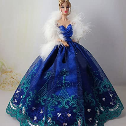 Image Unavailable. Image not available for. Color  Icollect® 1 PCS High  quality Embroidery Wedding Party Gown Dresses   Clothes for Barbie Doll 255b21c2603f