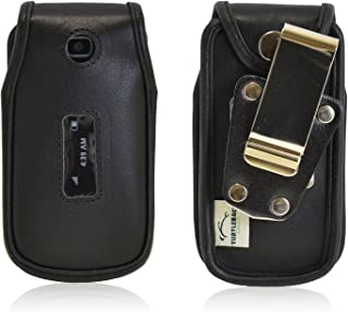 product image for Turtleback Fitted Case Made for Alcatel 768 Flip Phone Black Leather Rotating Removable Metal Belt Clip Made in USA