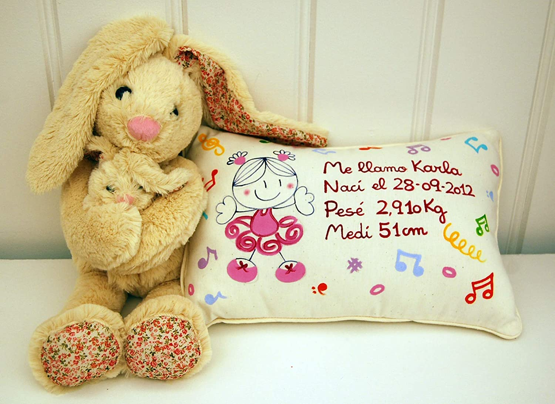 Cojín personalizado de bebe natalicio 40 x 25 cm. Bailarina ...