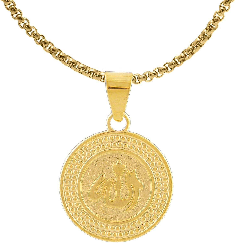 Fusamk Fashion Religious Stainless Steel Prayer of Hand Medallion Tag Pendant Scripture Necklace