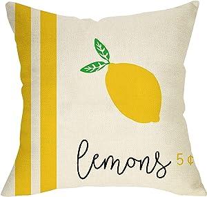 Softxpp Lemons Summer Decorative Throw Pillow Cover, Vintage Farmhouse Pillow Case Square Cushion Cover Yellow Seasonal Decor Spring Home Decorations for Sofa Couch 18'' x 18'' Cotton Linen