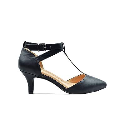Chase & Chloe Ellie-5C Women's Pointy Toe Ankle T Strap Heel Pump Sandal | Heeled Sandals