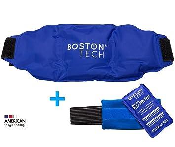 Boston Pak - 2 bolsas de gel frio y calor. Reutilizables, 1 con cinturon universal ajustable y 1 con banda de compresión. Ideal para dolores de ...
