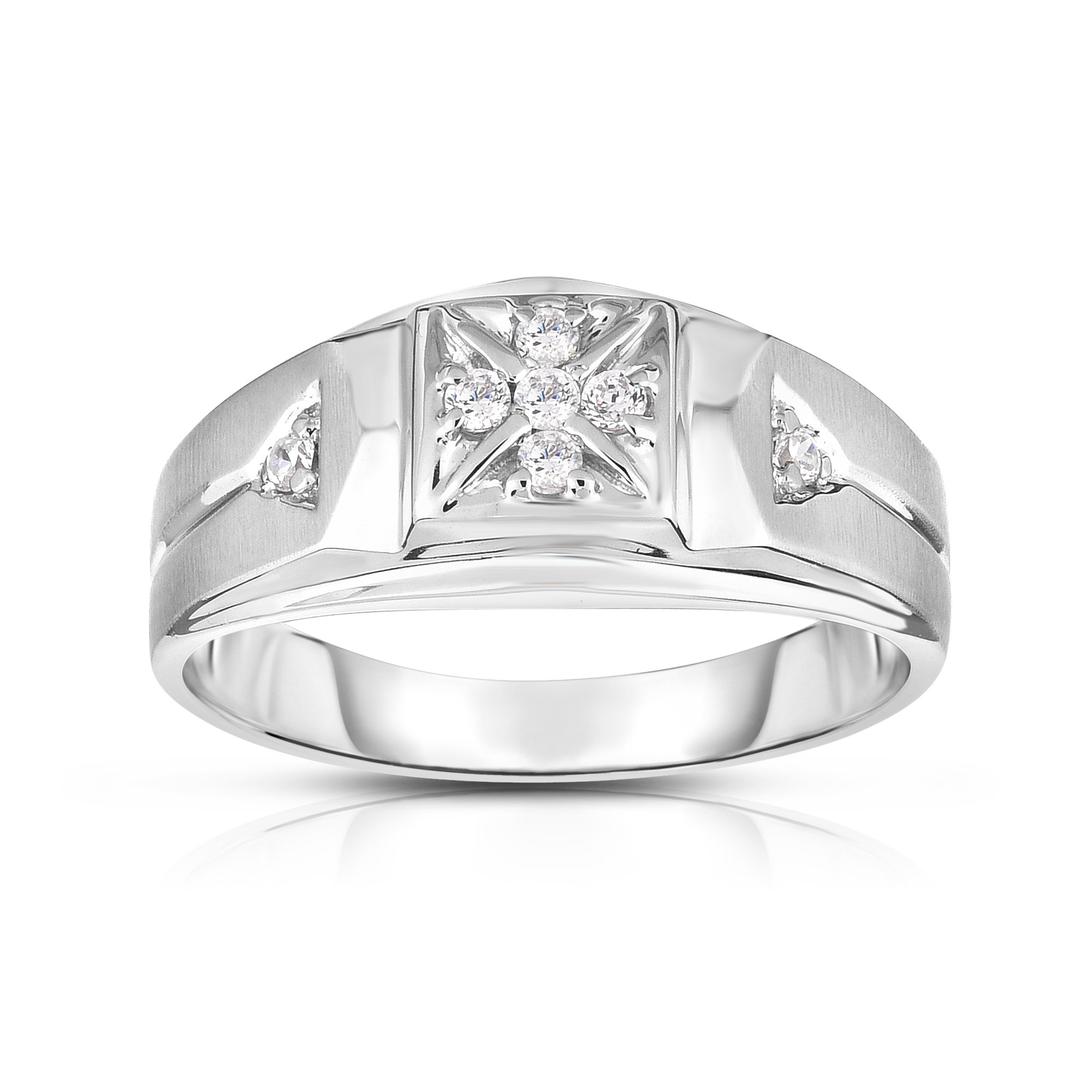 Noray Designs 14K White Gold Diamond (0.12 Ct, I1-I2 Clarity, G-H Color) Men's 7-Stone Ring