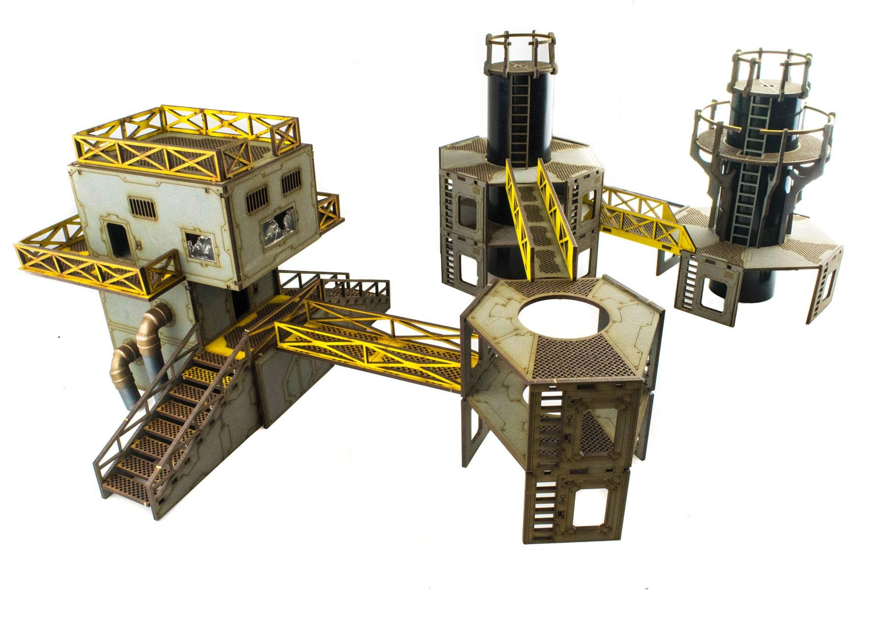 War World Gaming Industry of War Pre-Painted Refinery 2 & Power Service Tower – 28mm Sci-Fi Wargaming Terrain Model Diorama