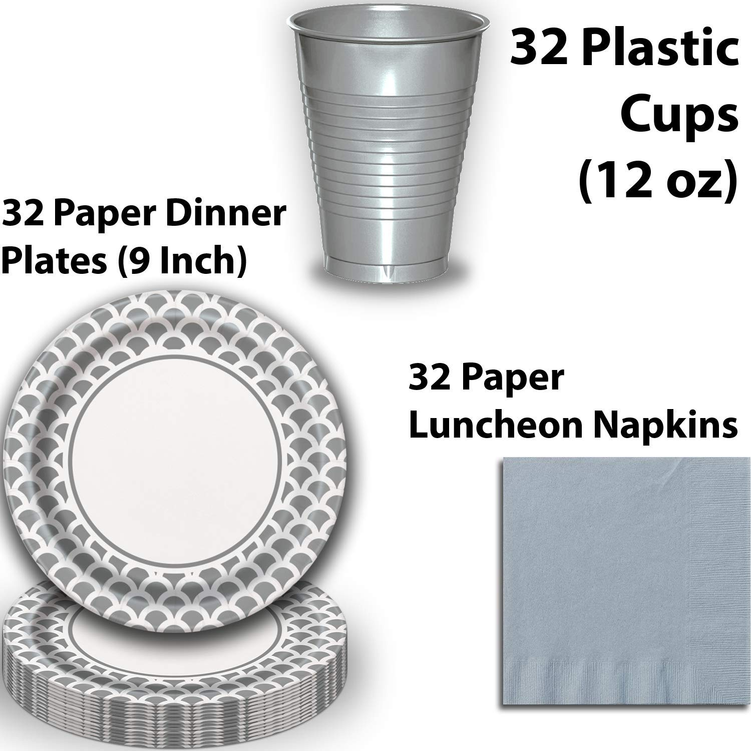 Disposable Tableware, 32 Sets - Silver and Caribbean Teal - Scallop Dinner Plates, Chevron Dessert Plates, Cups, Lunch Napkins, Cutlery, and Tablecloths: Premium Quality Party Supplies Set by HeroFiber (Image #3)
