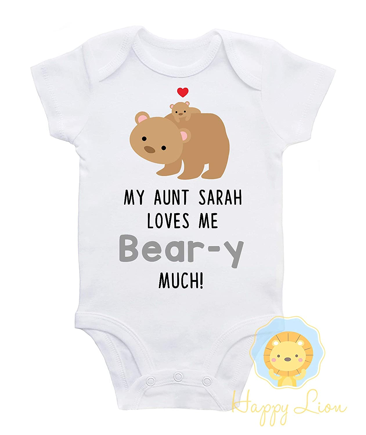 My Auntie Loves Me Embroidered Baby Sleepsuit Gift Personalised Aunt