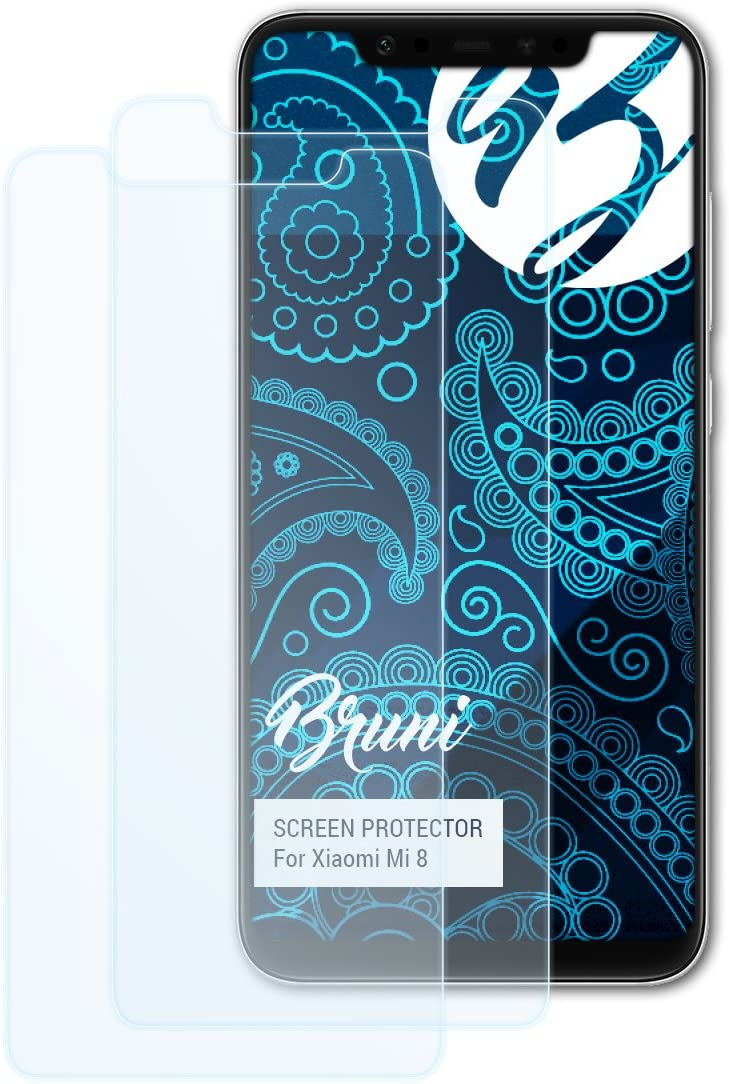 Bruni Película Protectora para Xiaomi Mi 8 Protector Película, Claro Lámina Protectora (2X)