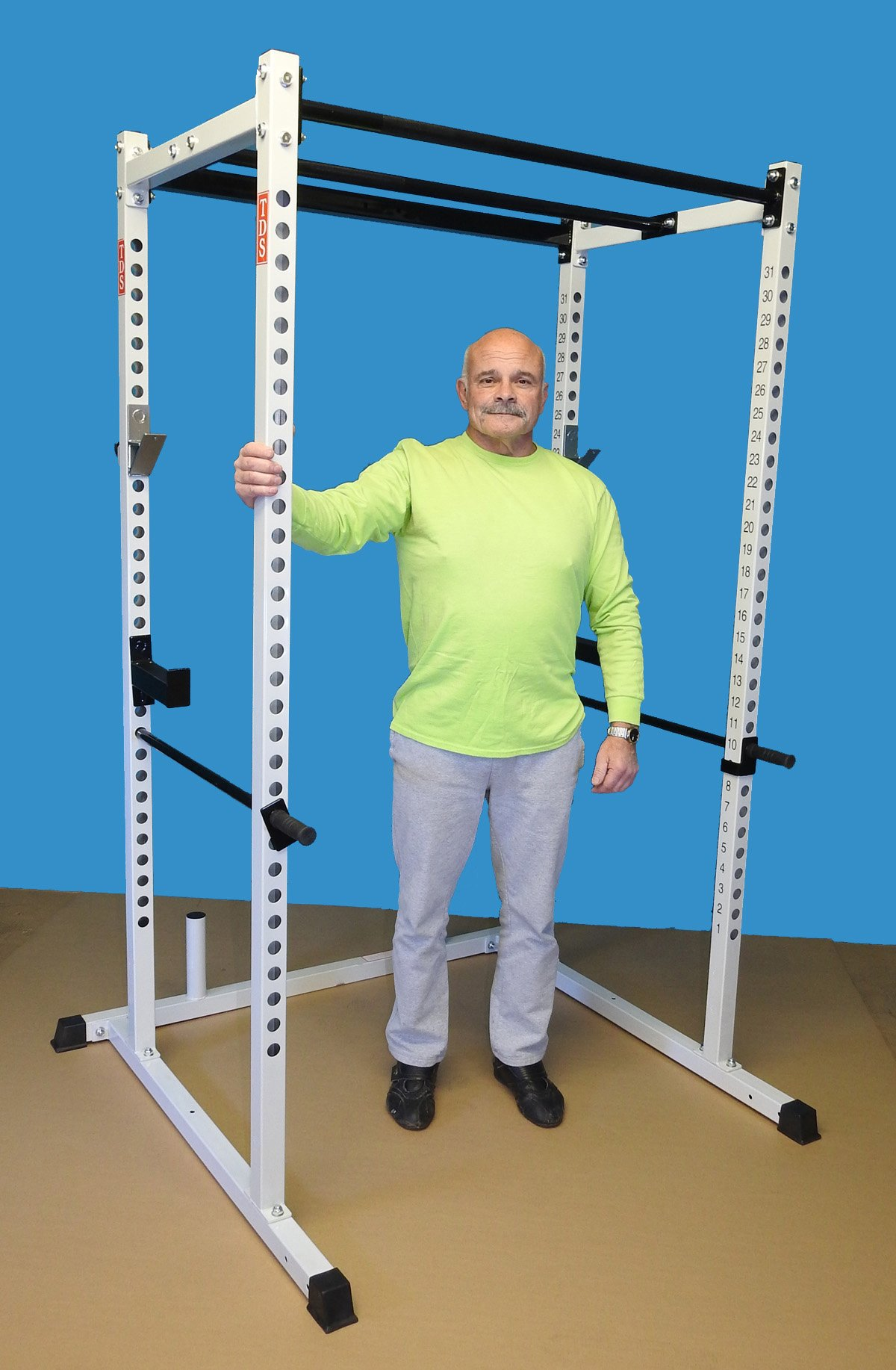 """TDS Special HD Power Squat Rack with Dual 1.25"""" Dia Knurled Pull up Bars, Numbered Uprights, 1000 lb Rated, Heavy Duty J Hooks, Jumbo Hooks, Solid steel Safety Bars and provision to add attachments."""