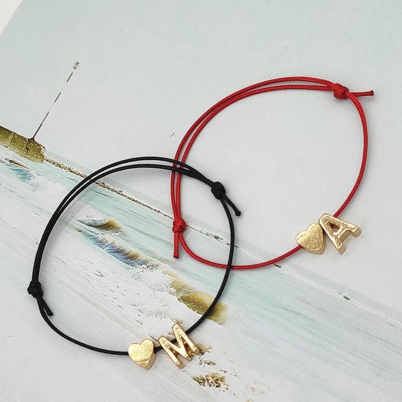 Collar con Nombre de Letra de Moda Pulsera de Cuerda de la Suerte de Color Rojo Negro Pulsera de Moda con declaración de corazón de Amor