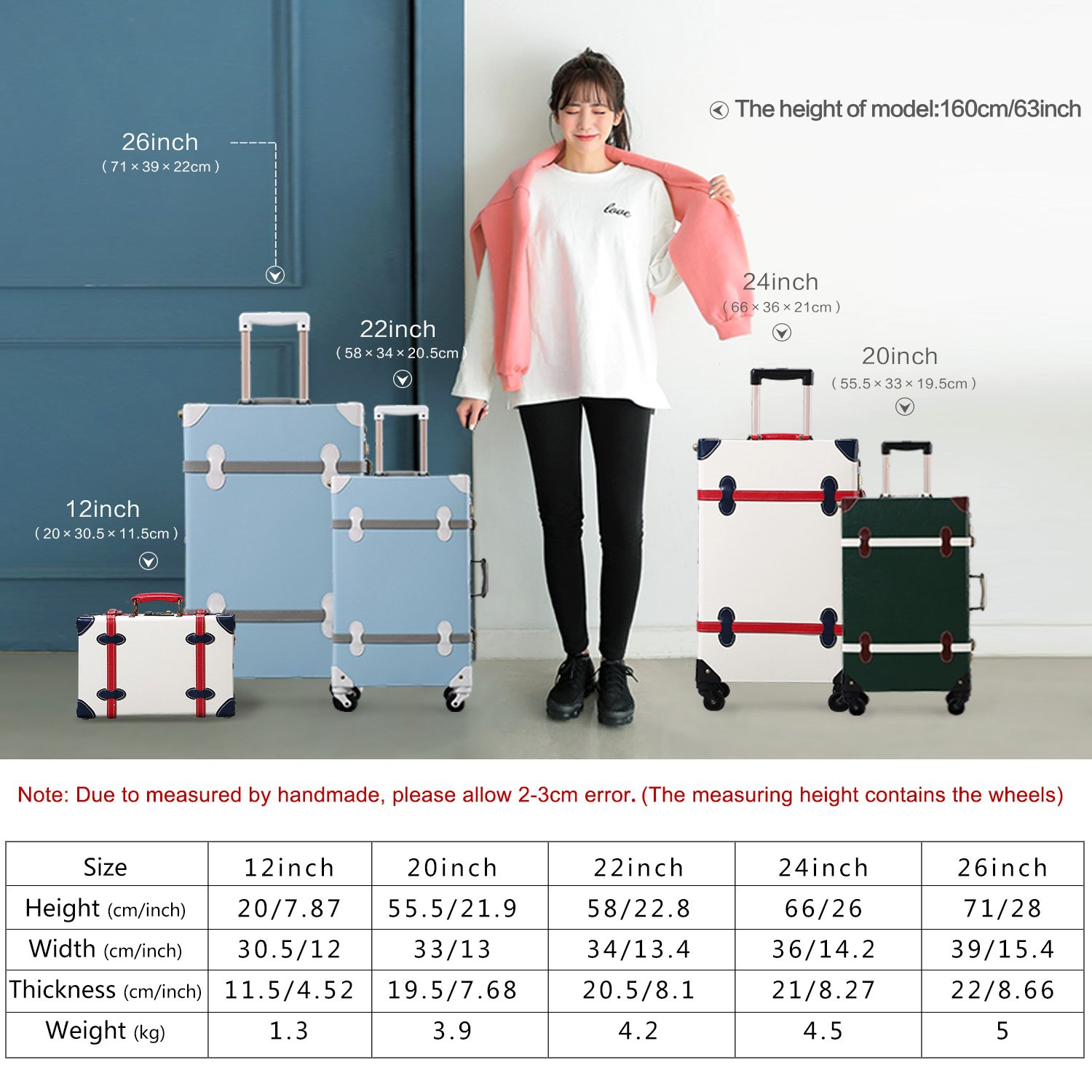 Amazon.com | Unitravel Vintage Suitcase Hard Shell Rolling Carry On Luggage Trolley Retro Trunk | Suitcases